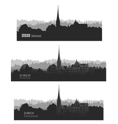 Zurich city view switzerland skyline silhouette vector