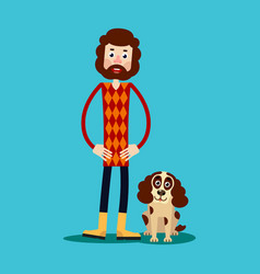 A young guy with a beard stands holding his hands vector