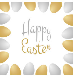 happy easter lettering with realistic eggs vector image