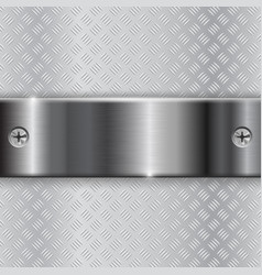 metal brushed plate with screws on non-slip vector image