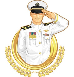 Military Officer in Salute Gesture vector image