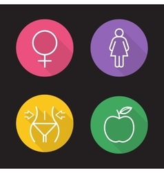 Weight loss dies flat linear icons set vector image vector image