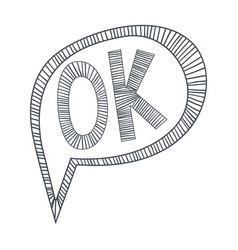 word ok approving hand drawn comic speech bubble vector image vector image