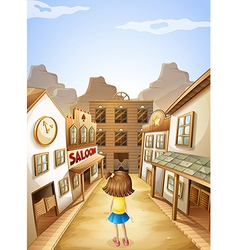 A little girl in the middle of the saloon bars vector image