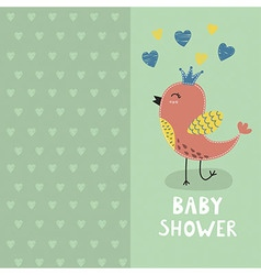 Baby shower invitation card with a cute bird vector image
