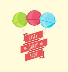 candy shop logo sign or symbol template with vector image vector image
