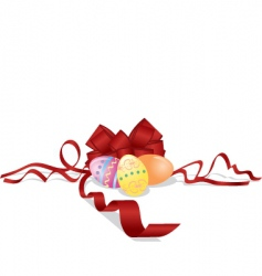 Easter eggs and bow vector