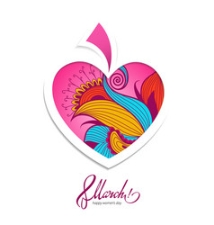 Greeting card 8 march with flower heart vector