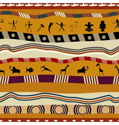 Seamless pattern in tribal style with figures vector