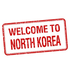 welcome to North Korea red grunge square stamp vector image vector image