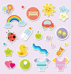 baby stickers kids children design elements for vector image