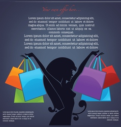 background with girl silhouette and shopping bags vector image vector image