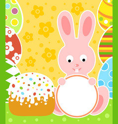 easter background card with rabbit and cake vector image vector image