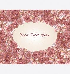 floral oval frame vector image