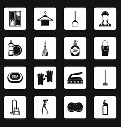 House cleaning icons set squares vector