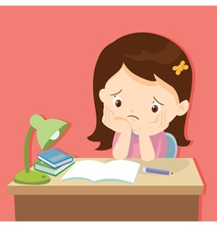 little cute girl bored homework vector image