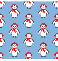 penguin seamless pattern vector image vector image