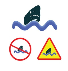shark icon in the sea vector image