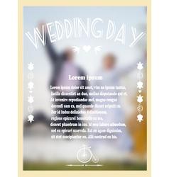 Vintage wedding card with bride and groom vector image vector image