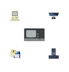 Flat icon laptop set of vintage hardware vector