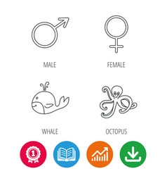 male female and octopus icons vector image vector image