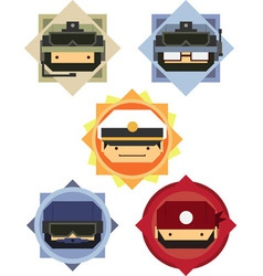 Military Soldier Officer Cartoon Icons vector image