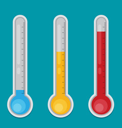 Thermometer flat icon set vector