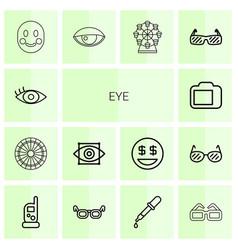 14 eye icons vector