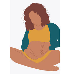 A afro american pregnant woman vector