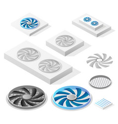 a set isometric computer fans vector image