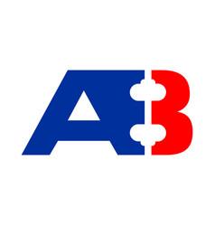 ab a8 initials barbel shape symbol design vector image