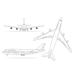 airplane linear icon set on a white background vector image