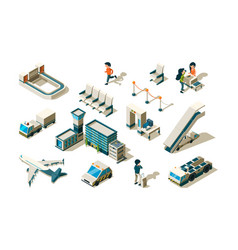 airport isometric terminal equipment security vector image