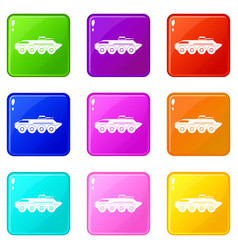 Armored personnel carrier icons 9 set vector