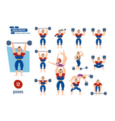 Athlete entertains audience strength exercises vector