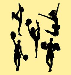 Attractive dancer cheerleader silhouette vector
