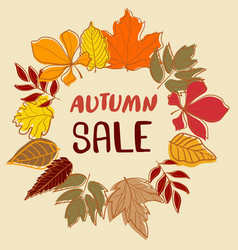 autumn sale backdrop with colourful leaves vector image