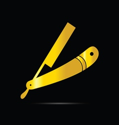 Barber shop icon in gold vector