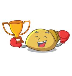 Boxing winner mollusk shell mascot cartoon vector
