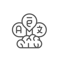 Brain with language bubbles translation line icon vector