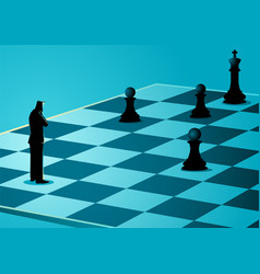 businessman standing while thinking on chessboard vector image