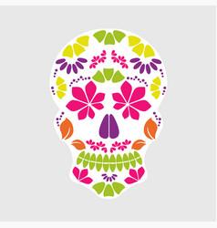 calavera sugar skull candy floral mexican vector image