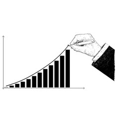 Cartoon of hand drawing histogram financial chart vector
