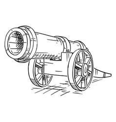 Cartoon old antique wheeled artillery cannon vector