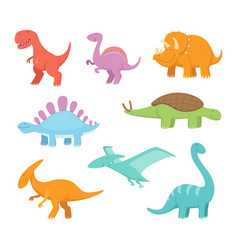 Cartoon set of funny dinosaurs pictures of vector