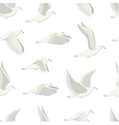 cartoon white dove bird seamless pattern vector image