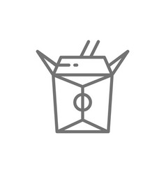 Chinese food in box with bamboo chopsticks vector