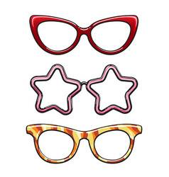 Colorful eyeglass frames set vector