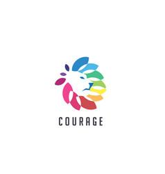 Colorful lion head logo icon vector