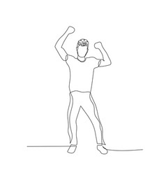 Continuous one line dancing man with short curly vector